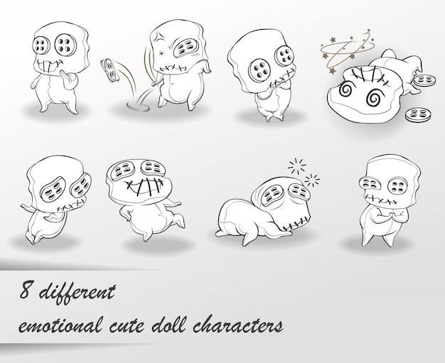 8 simpatici personaggi di bambole con scarabocchi diversi.