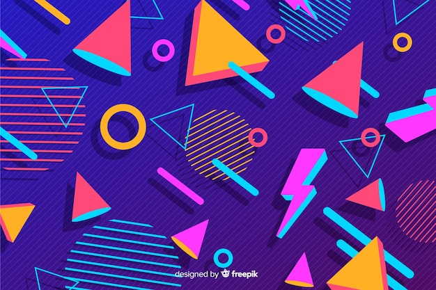 80 stile di sfondo con forme geometriche