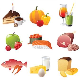 9 icone dell'alimento altamente dettagliate