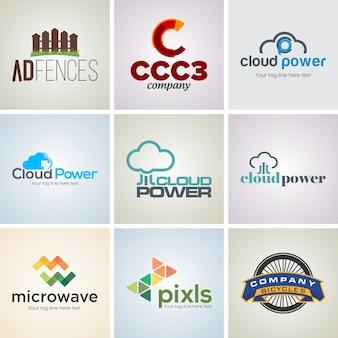 9 insieme di modelli di progettazione logo aziendale creativo