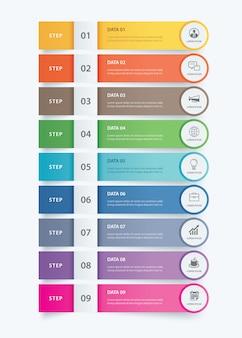 9 modello di indice di carta di tab di infographics di dati.