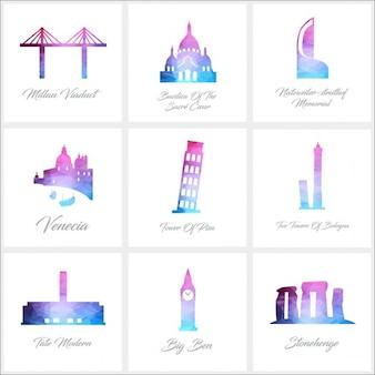 9 poligono monumento logo set