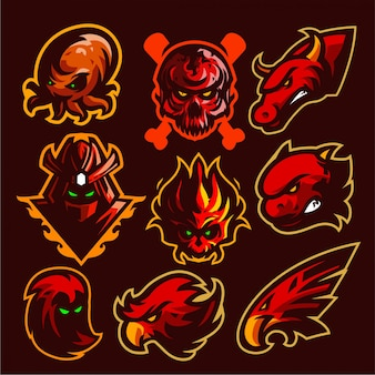 9 set mascotte logo modello di gioco vettoriale