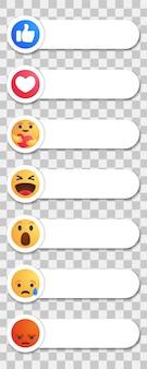A facebook piace il pulsante giallo rotondo del fumetto reazioni empatiche di emoji con la nuova reazione di cura