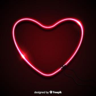 A forma di cuore al neon