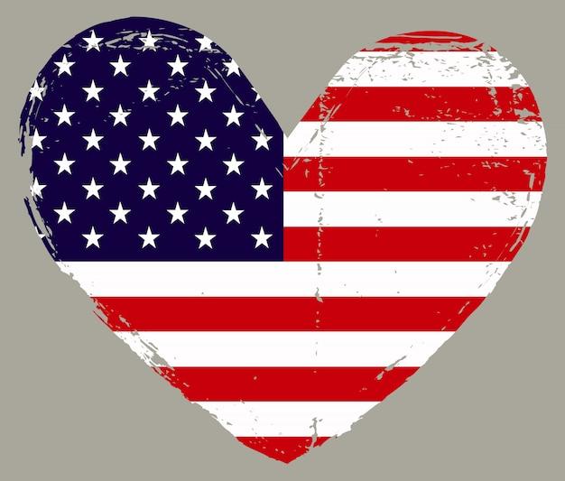 A forma di cuore con bandiera americana