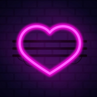 A forma di cuore con stile luce al neon
