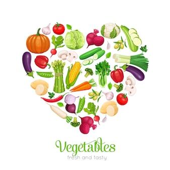 A forma di cuore con verdure