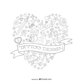 A forma di cuore disegno del tatuaggio vettoriale
