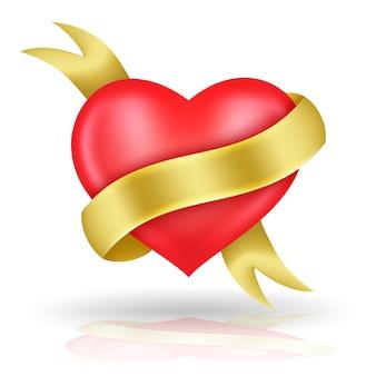 A forma di cuore e nastro d'oro.