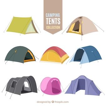 A mano da campeggio disegnato raccolta tenda