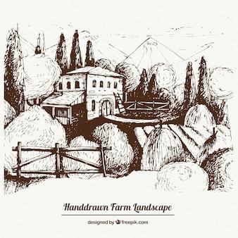 A mano paesaggio disegnato farm