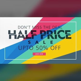 A metà prezzo di vendita modello di banner design creativo