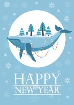 A testa in giù enorme pesce sdraiato balena con alberi decorati con ghirlanda sul biglietto di auguri di capodanno.