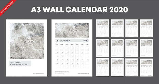 A3 calendario da parete 2020 modello