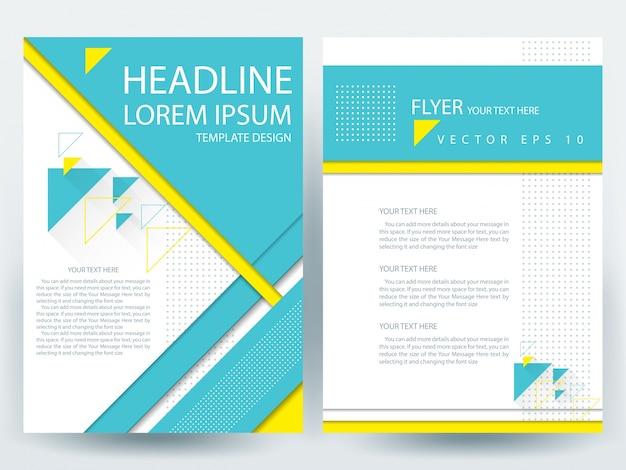 A4 brochure layout con geometrie blu e giallo