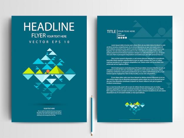 A4 brochure layout modello con colore verde scuro