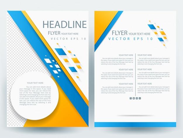 A4 brochure modello di layout con arancione e blu geometrico, cerchio