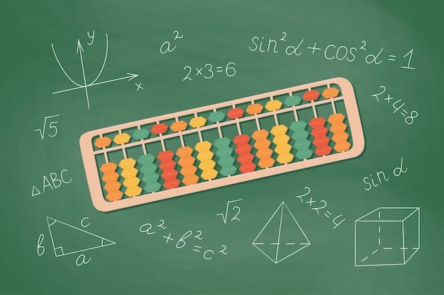Abacus soroban per l'apprendimento dell'aritmetica mentale per i bambini. concetto di illustrazione del sistema giapponese di matematica mentale.