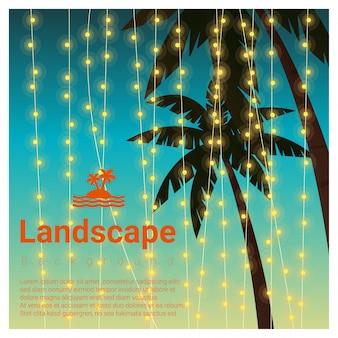 Abbellisca il fondo con le palme alla festa tropicale della spiaggia