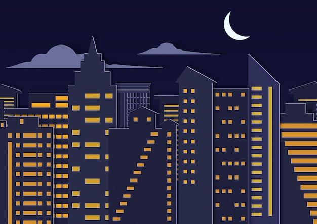 Abbellisca la città urbana di notte di stile di arte tagliata carta con la luna.
