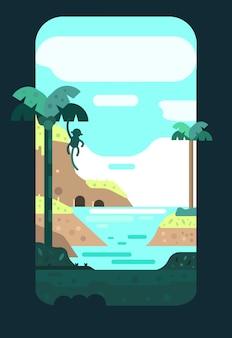 Abbellisca la stagione estiva con il cielo blu, il mare, la caverna e l'albero di cocco.