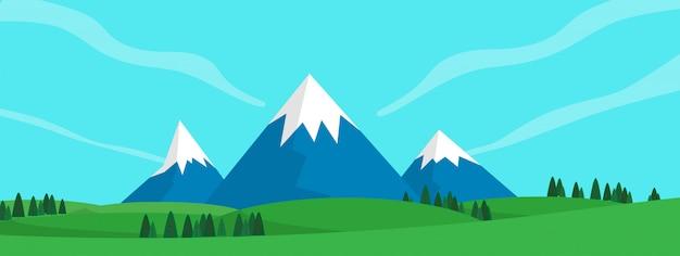 Abbellisca la vista della collina della montagna fra il campo di erba verde nel tempo del giorno dell'estate