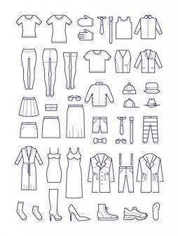Abbigliamento casual femminile e maschile, icone di contorno dell'indumento