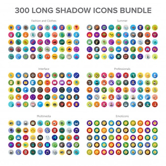 Abbigliamento e moda, multimedia, estate, professionisti ed emoticon 300 icone long shadow b