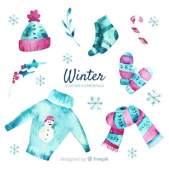 Abbigliamento invernale ed elementi essenziali dell'acquerello