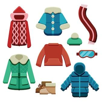 Abbigliamento invernale piatto ed elementi essenziali