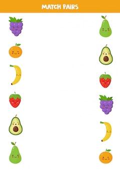 Abbina coppie di frutti kawaii. trova coppia. gioco logico educativo per bambini. educazione domestica per bambini in età prescolare. pagina delle attività.