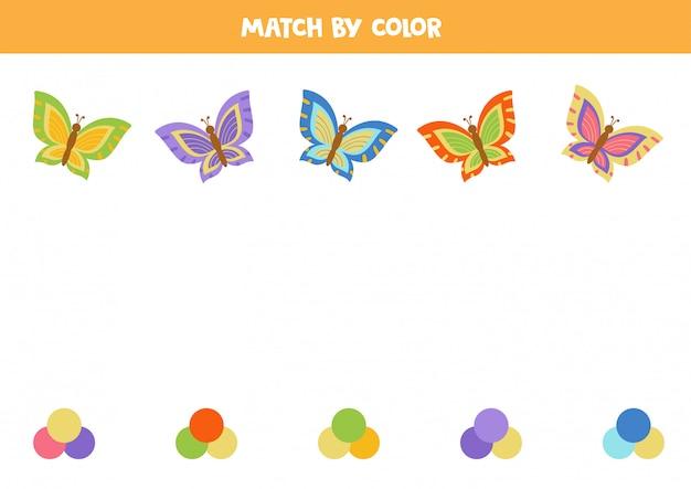 Abbina farfalle e tavolozze di colori. gioco per bambini.