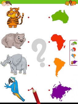 Abbina gioco educativo di animali e continenti
