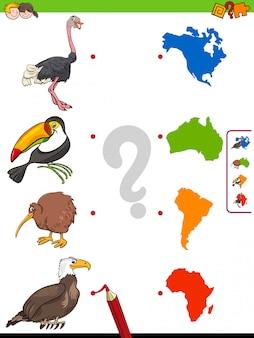 Abbina gioco educativo di forme di animali e continenti