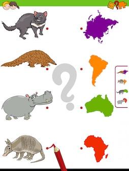 Abbina il compito educativo di animali e continenti per i bambini