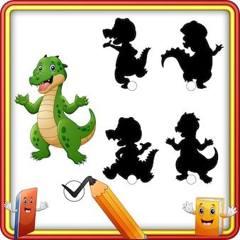 Abbinamento ombra del cartone animato di coccodrillo