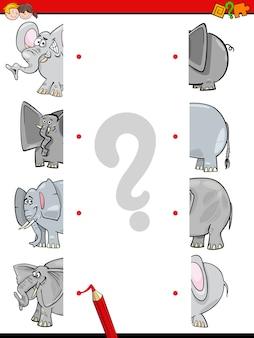 Abbinare le metà degli elefanti