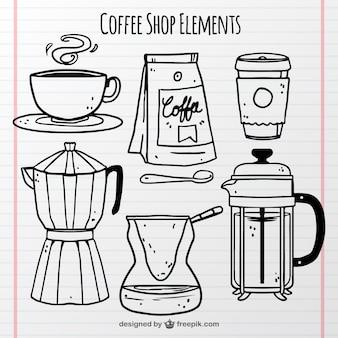Abbozza caffetteria oggetti set
