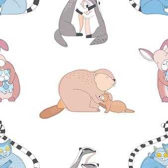 Abbracci simpatici animali senza soluzione di continuità. modello disegnato a mano colorato.