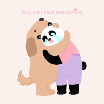 Abbraccio del cane e del panda del carattere dell'illustrazione della mano