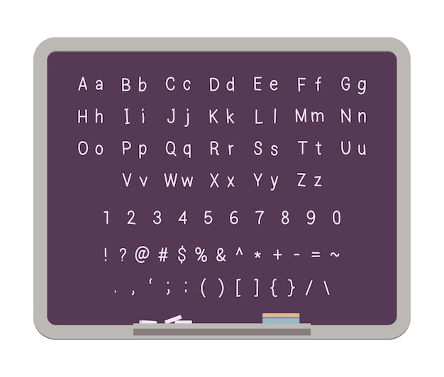 Abc. alfabeto latino sulla lavagna