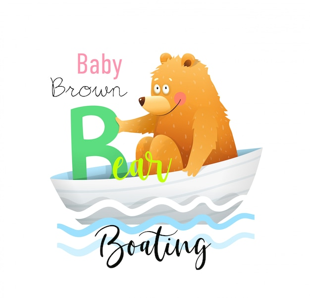 Abc for kids, funny baby bear per letter b.