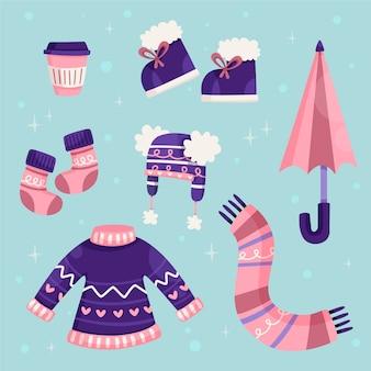 Abiti invernali ed elementi essenziali in design piatto