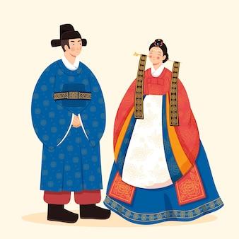 Abiti tradizionali con donna e uomo