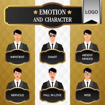 Abito da uomo emozione e carattere sul banner di lusso. cartone animato di affari.