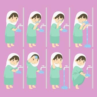 Abluzione, passaggi di wudhu per la raccolta di bambini di vettore