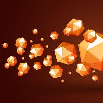Abstract 3d forme poligoniche caotiche o particelle di polipo basso su sfondo marrone.