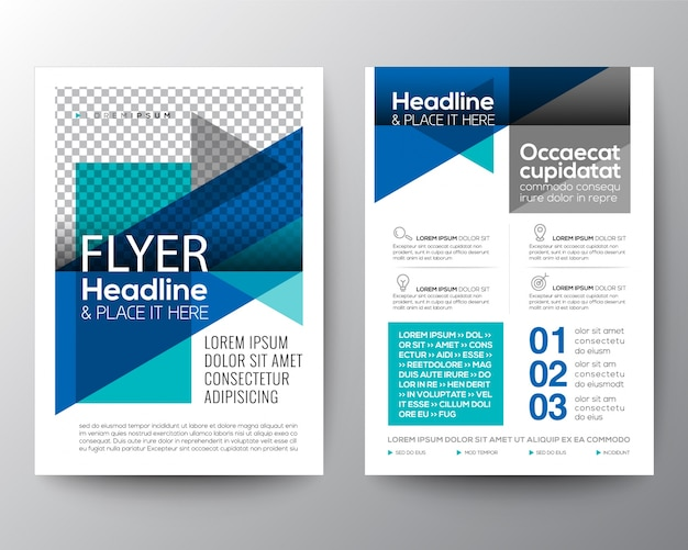 Abstract blue geometric brochure flyer modello