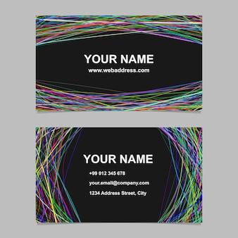 Abstract business card template set di progettazione - illustrazione vettoriale carta vettoriale con strisce arcuate su sfondo nero